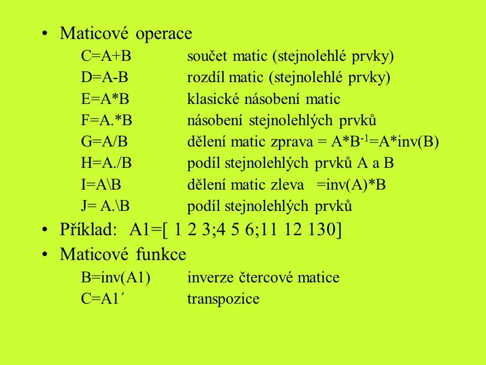 Maticové operace Příklad: A1=[ 1 2 3;4 5 6;11 12 130] Maticové funkce